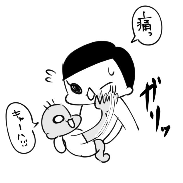 痛い~!(泣)ママは赤ちゃんのフルパワーを全身で受け止めます!|妻ングトン!の育児マンガ