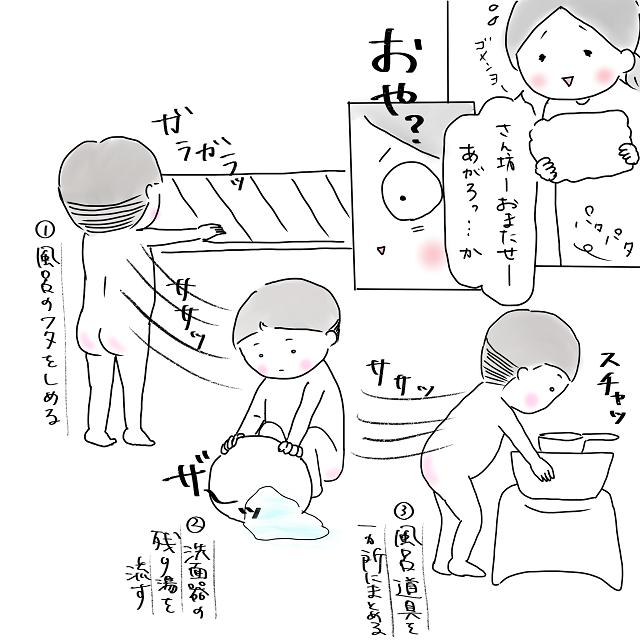 3兄弟のどたばたワンオペ入浴。母を助けるのは・・・えッ、三男!?|まんなかの子育て日記