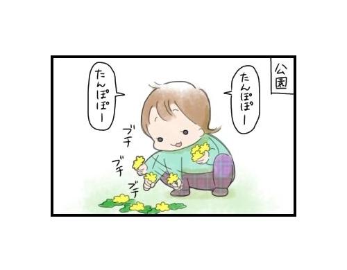 公園で謎の儀式!?2歳娘が必死にたんぽぽを集める理由 まりおの育児漫画