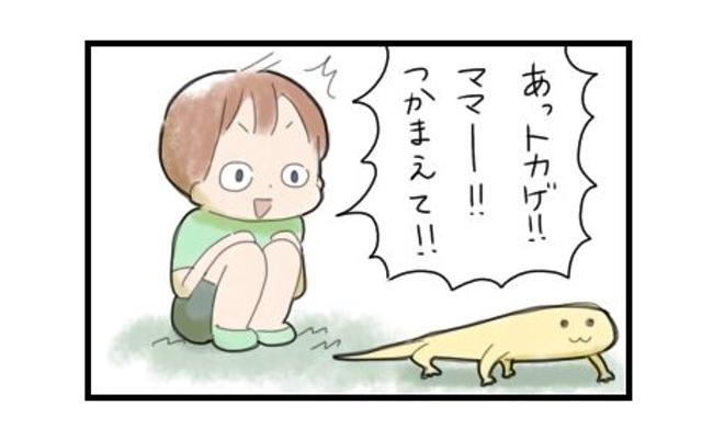 「捕まえて!」って言われましても…子供のために母はトカゲとも戦う!|まりおの育児漫画